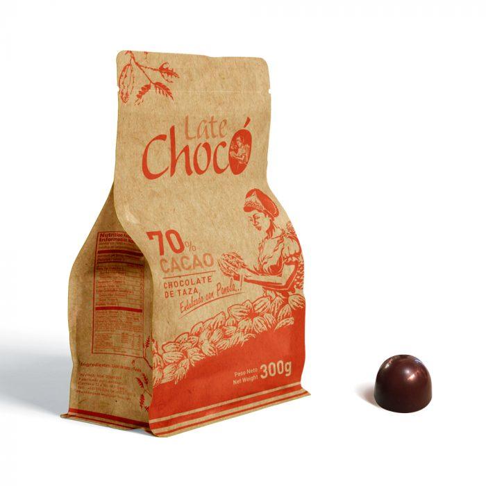 Chocolate de taza 70% cacao endulzado con panela orgánica Late Chocó