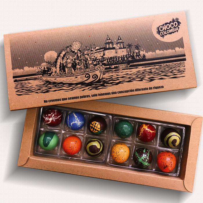 Bombones de chocolate rellenos 12 unidades