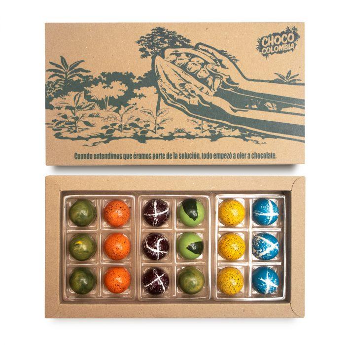 Bombones de chocolate rellenos 18 unidades